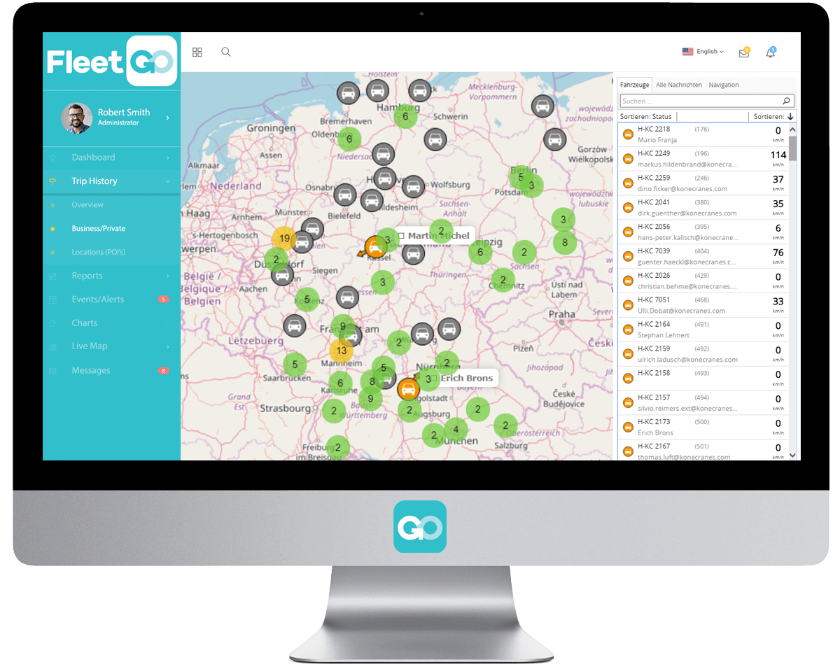 Vehicle FleetGO Fleet Tracking Software Live Map