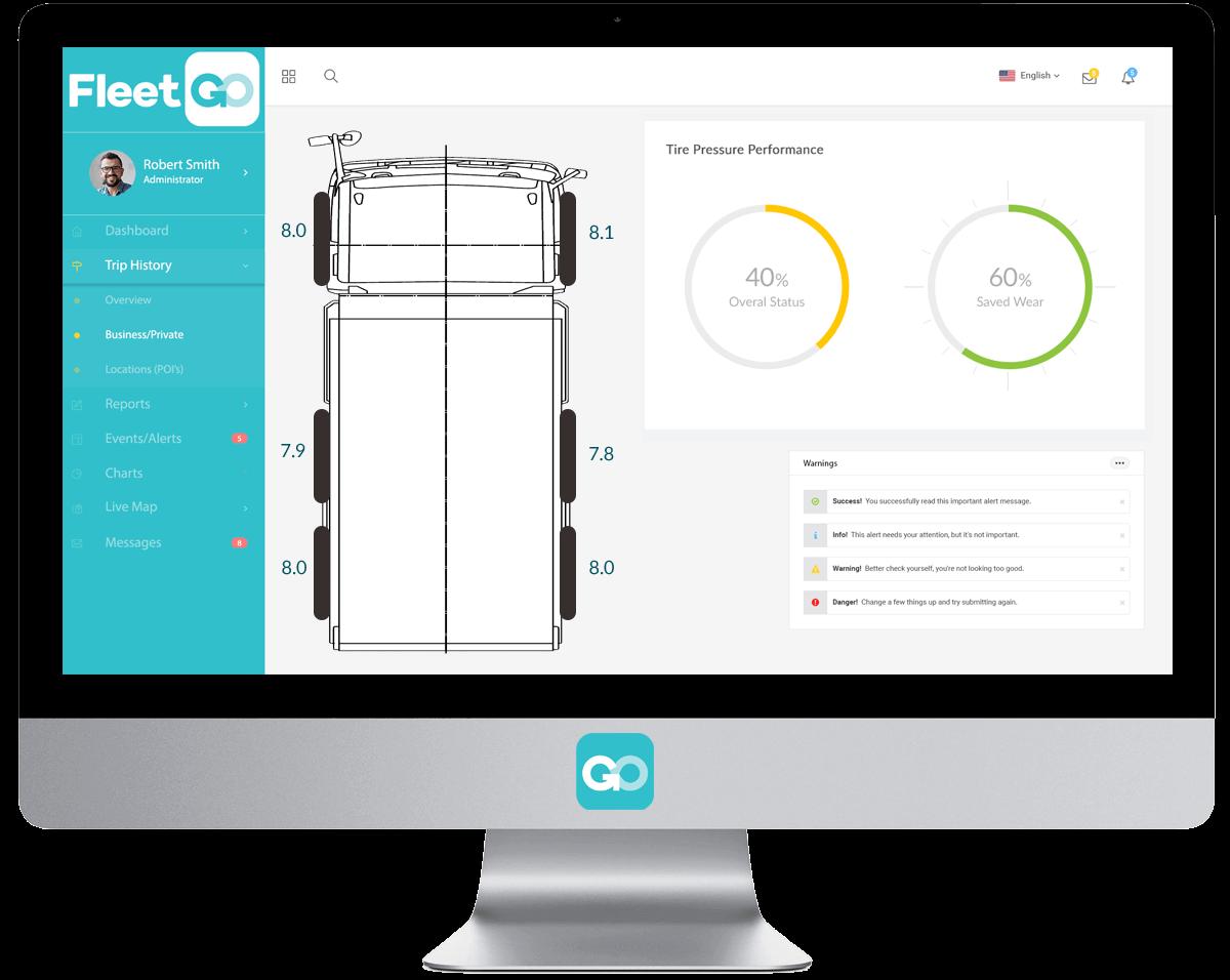 FleetGO tyre pressure monitoring system platform